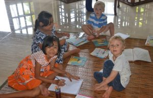 With children on Bali