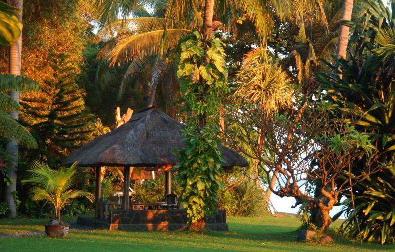 Sitzplatz im tropischen Garten