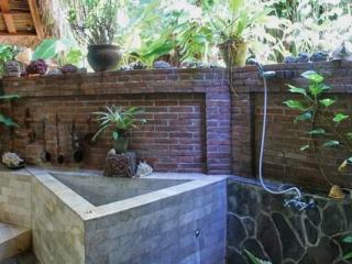 Villa mit offenem Bad - Blick in die Palmen beim Duschen